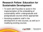 research fellow education for sustainable development