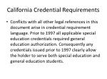 california credential requirements