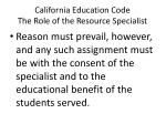 california education code the role of the resource specialist4