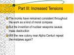 part iii increased tensions