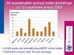 16 000 pupils and teachers using wecf school toilets total direct cost per user 37 euro average
