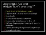assessment ask your subjects how s your sleep