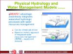 physical hydrology and water management models continued37