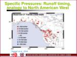 specific pressures runoff timing analogy to north american west