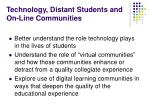 technology distant students and on line communities
