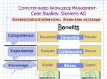 c omputer based k nowledge m anagement case studies siemens ag28