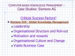 c omputer based k nowledge m anagement case studies siemens ag4
