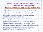 c omputer based k nowledge m anagement case studies siemens ag41