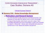 c omputer based k nowledge m anagement case studies siemens ag8