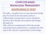 c omputer based k nowledge m anagement5