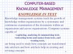 c omputer based k nowledge m anagement9