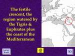 the fertile crescent the region watered by the tigris euphrates plus the coast of the mediterranean
