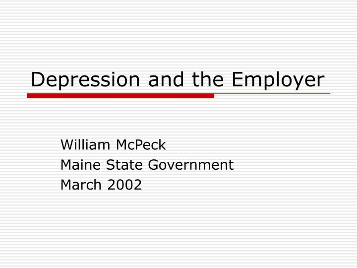 depression and the employer n.
