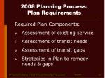 2008 planning process plan requirements