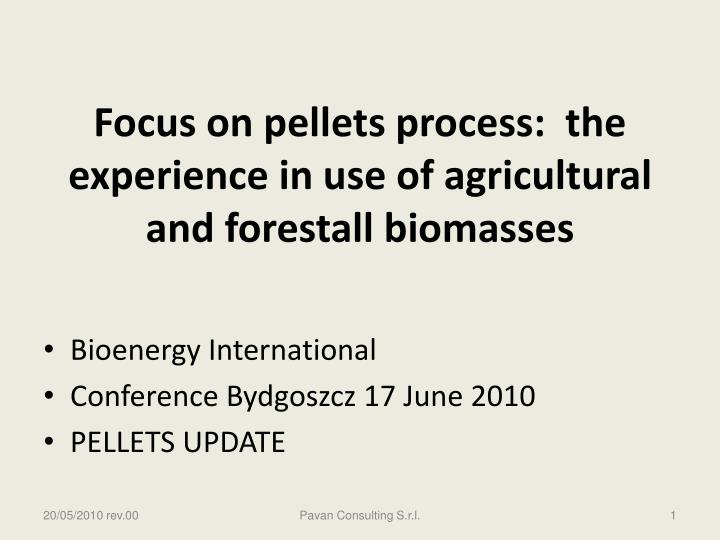 focus on pellets process the experience in use of agricultural and forestall biomasses n.