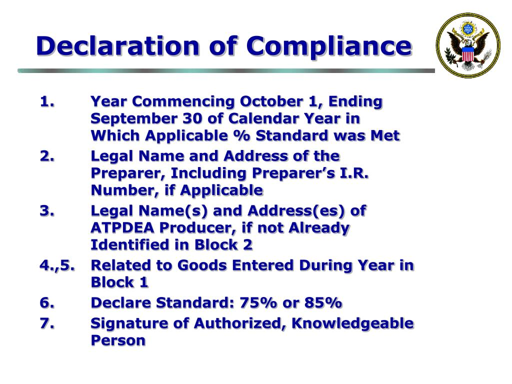 Declaration of Compliance