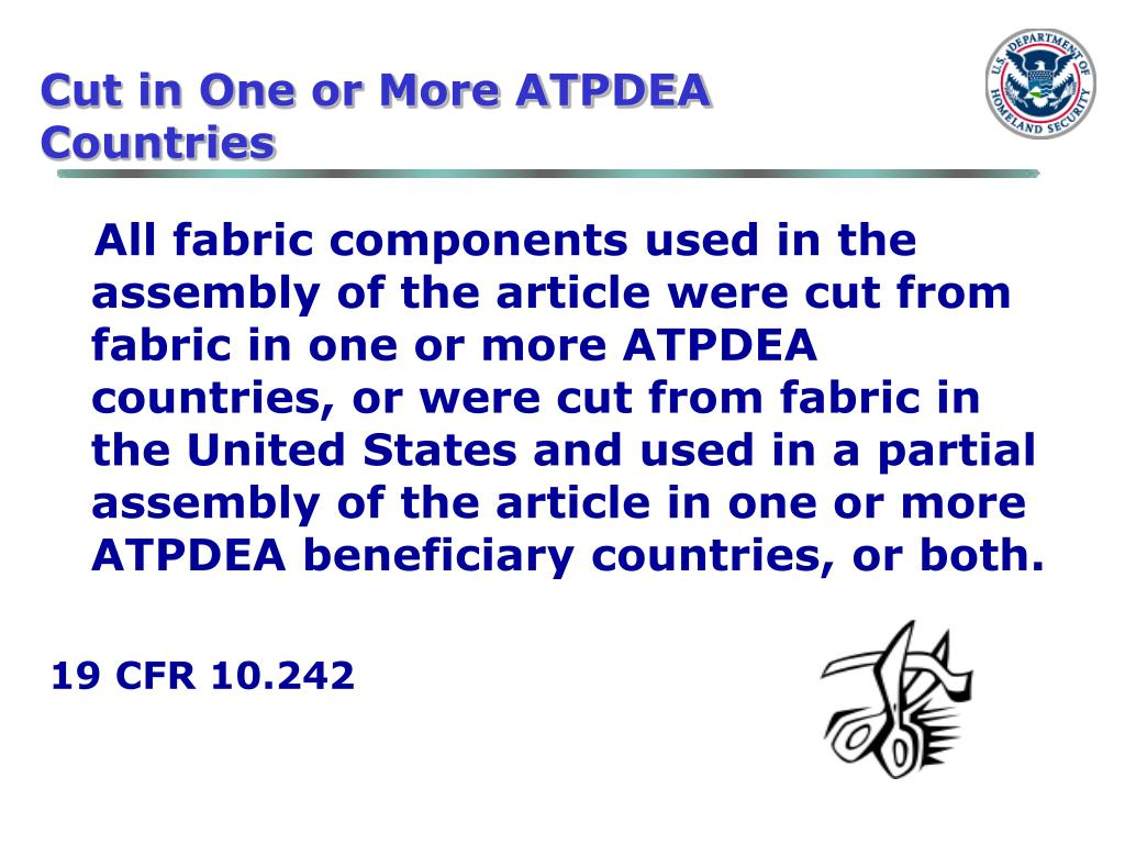 Cut in One or More ATPDEA Countries