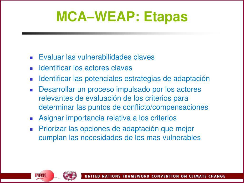 MCA–WEAP: Etapas