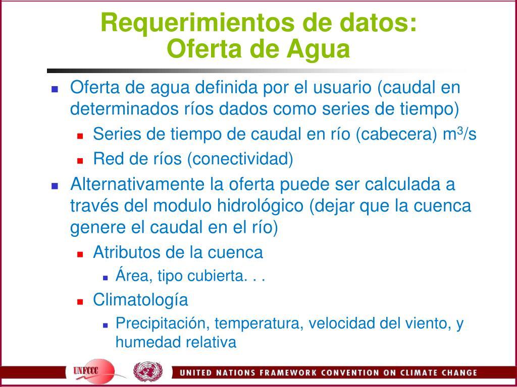 Requerimientos de datos: