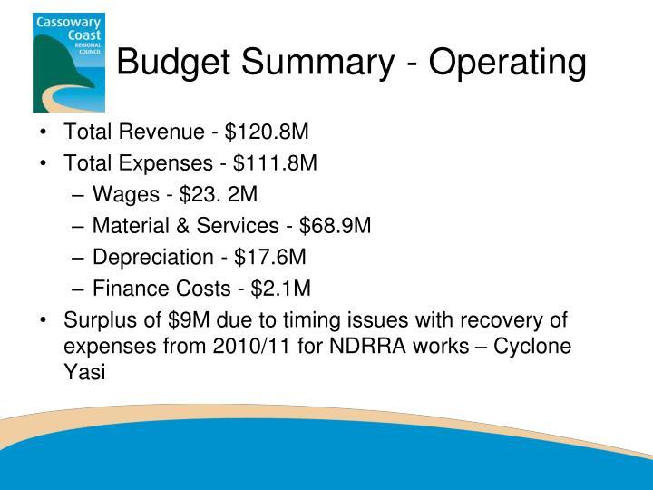 Budget Summary - Operating