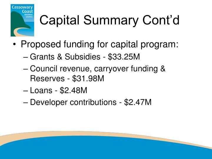 Capital Summary Cont'd