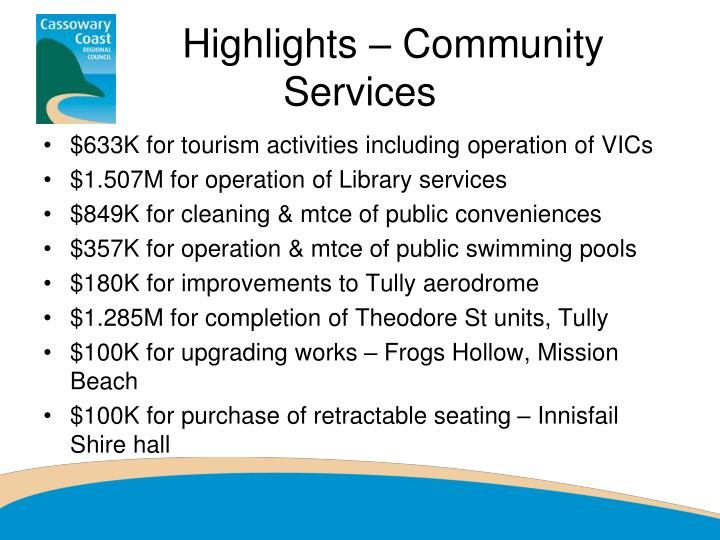 Highlights – Community Services