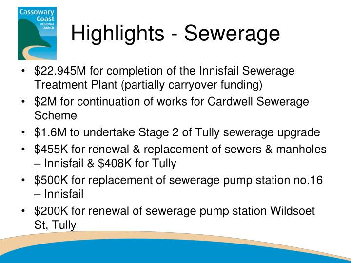 Highlights - Sewerage