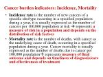 cancer burden indicators incidence mortality