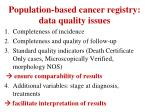 population based cancer registry data quality issues