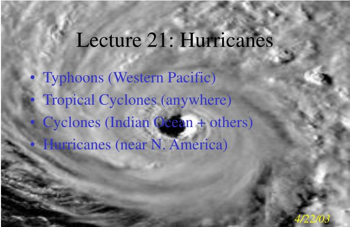 lecture 21 hurricanes n.