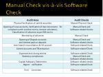 manual check vis vis software check