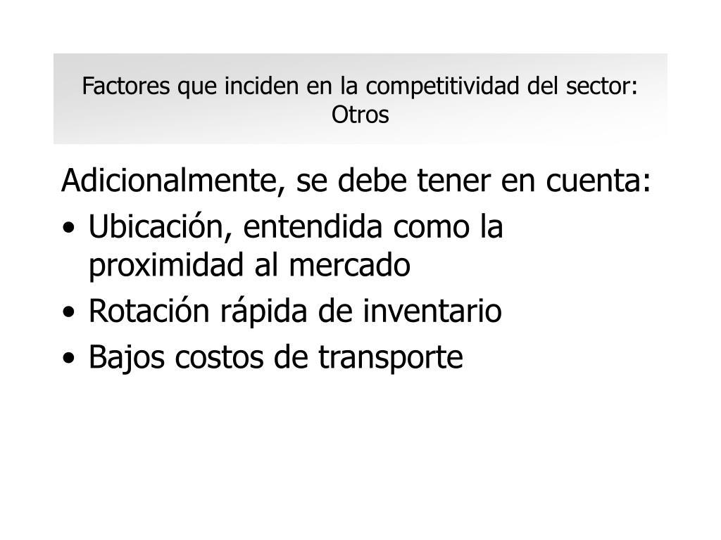 Factores que inciden en la competitividad del sector: