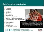 sport s positive contribution
