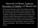 innocent i of rome letter to decentius of gubbio 19 march 416