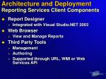 architecture and deployment reporting services client components