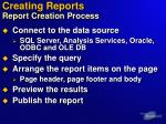 creating reports report creation process