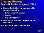 creating reports report definition language rdl
