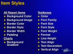 item styles
