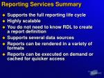 reporting services summary