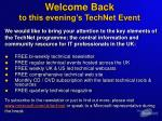 welcome back to this evening s technet event