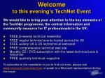 welcome to this evening s technet event