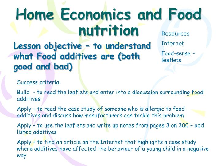 home economics and food nutrition n.
