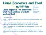 home economics and food nutrition