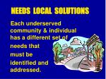 needs local solutions