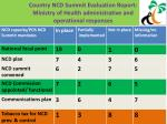 country ncd summit evaluation report ministry of health administrative and operational responses