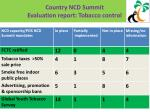 country ncd summit evaluation report tobacco control