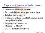 important issues in web classes