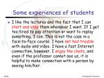 some experiences of students