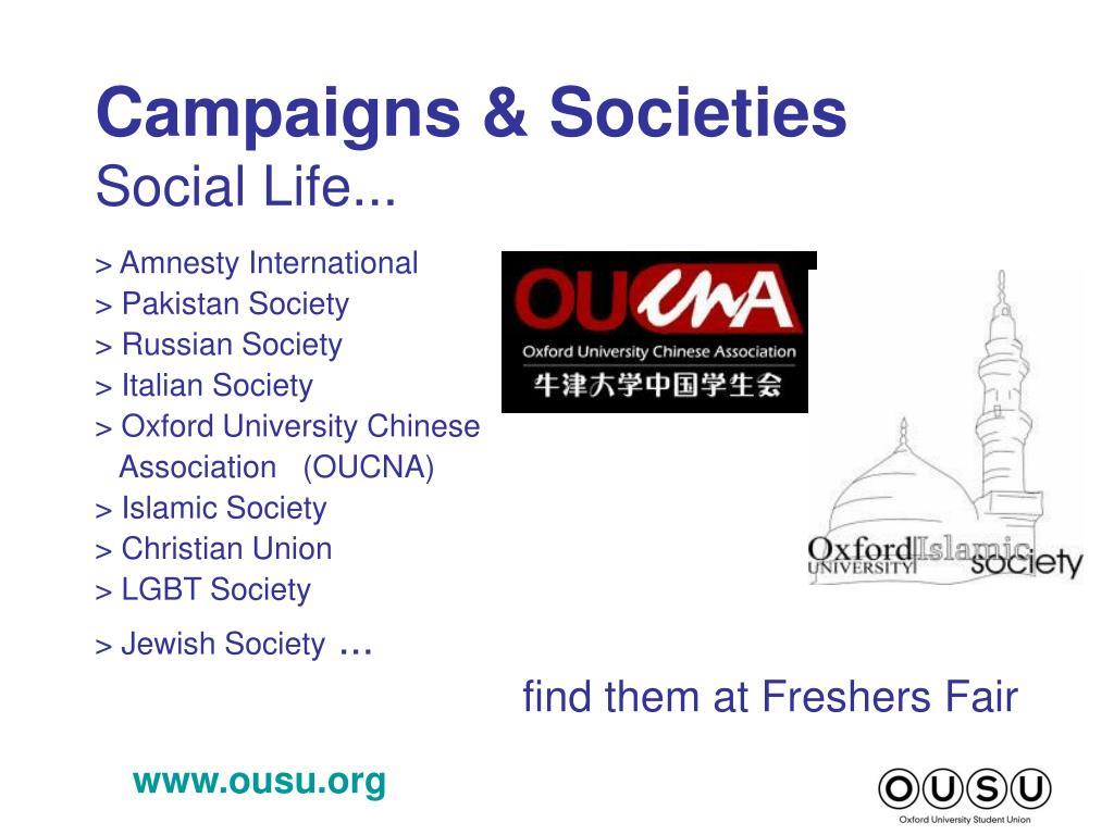 Campaigns & Societies