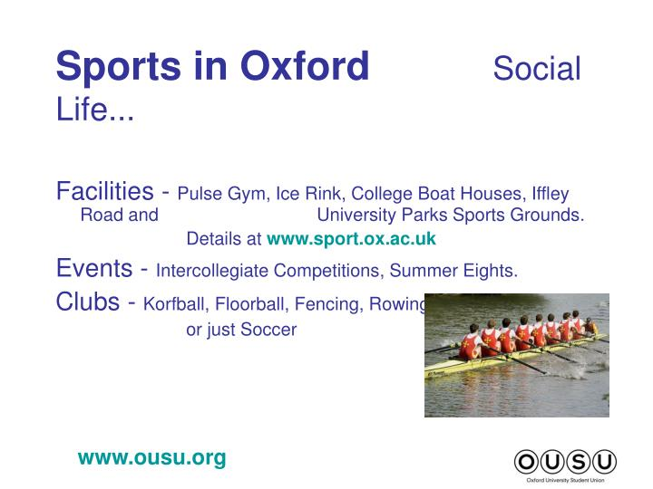 Sports in oxford social life